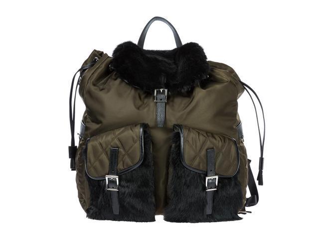 6e52ea22599f ... low price prada mens nylon rucksack backpack travel green 2ba1d c09d6