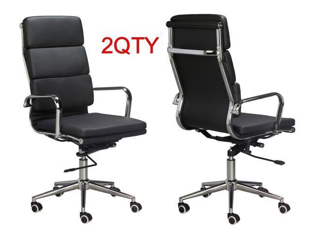 Brilliant Eames Replica High Back Office Chair Black Vegan Leather Thick High Density Foam Stabilizing Bar Swivel Deluxe Tilting Mechanism Sold In A Inzonedesignstudio Interior Chair Design Inzonedesignstudiocom
