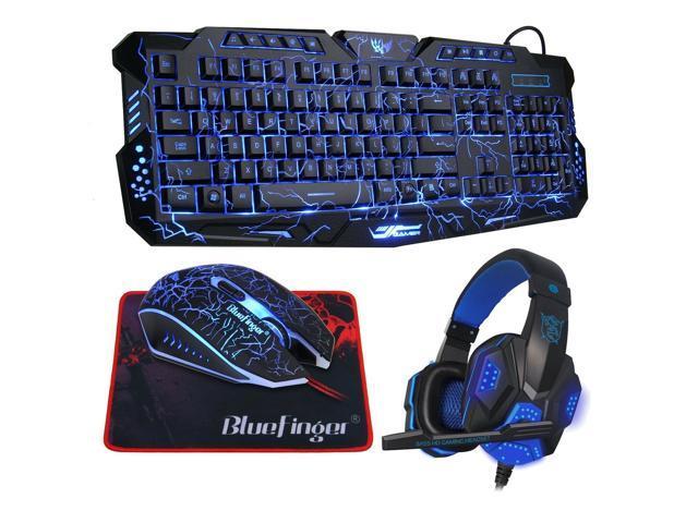 b35b3479375 BlueFinger Backlit Gaming Keyboard Mouse Combo with LED Gaming Headset  Over-Ear Headphone 40mm Speaker