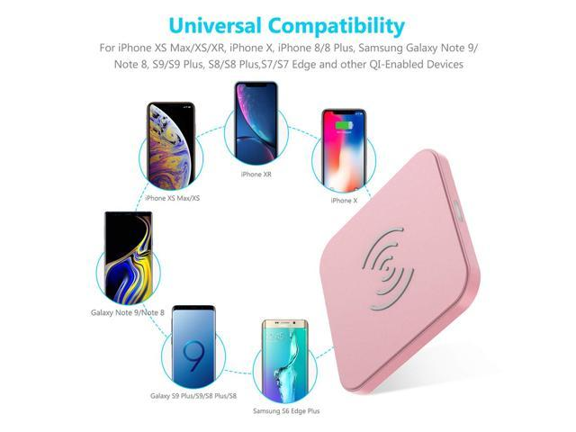 Moxyo Wireless Charger Rose Gold w//Floral Design Stylish Qi-Certified Wireless Charging Pad Compatible with iPhone Xs//Xs Max//Xr//X//8 Plus//8 Samsung Galaxy S9//S9+//S8//S8+//S7 and More