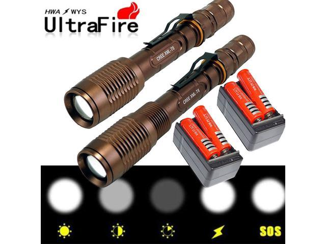 Ultrafire 10000Lumens 3-Mode T6 LED Zoomable Flashlight Super Bright Torch Light