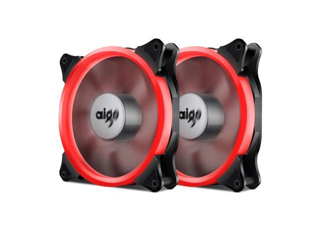 2X Aigo  RED Halo LED 120mm 12cm PC Computer Case Cooling Neon Clear Fan Mod