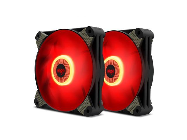 2-Pack Aigo X1 120mm Red LED High Airflow Hybrid-Design PC Case Computer Fan