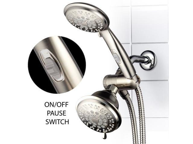 Hand Held Shower Heads With On Off Switch.Hotelspa 42 Setting Ultra Luxury 3 Way Shower Head Handheld Shower Combo With Patented On Off Pause Switch Brushed Nickel