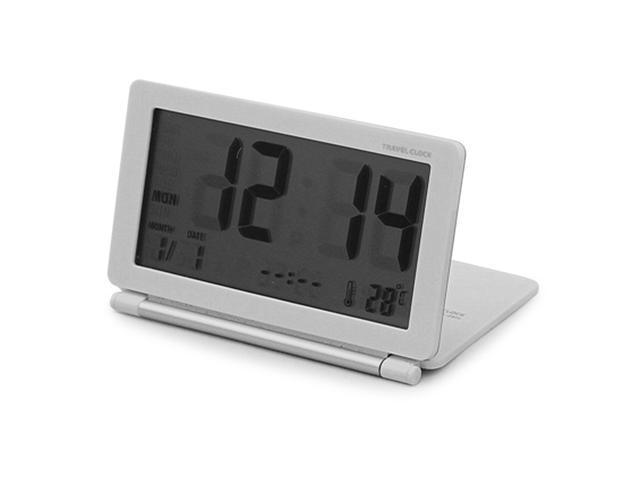 Lcd Digital Folding Travel Desk Electronic Alarm Clock Day Date Calendar Temperature Display Snooze