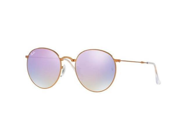 04354a02da6 Ray-Ban Icons RB3532 Round With Lilac Gradient Flash Mirror Lens Metal  Frame Folding Sunglasses