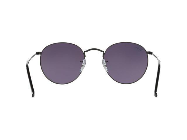 e92a28eeb3798 Ray-Ban RB3447 002 4J Icons Round Sunglasses Black Frame Green Gradient  Flash Lens
