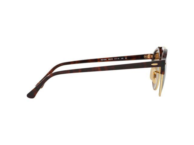 78ba3636f2 Ray-Ban RB4346 990 33 Clubround Double Bridge Clubmaster Tortoise Frame  Brown Classic B