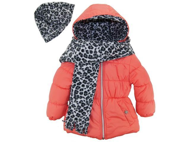 86c97c79a4d5 Pink Platinum Little Girls  Solid Puffer Cheetah Hat and Scarf Winter ...