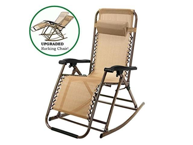 Charmant Lusana Studio Infinity Zero Gravity Rocking Chair Outdoor Lounge Patio Folding  Reclining Chair , Tan,