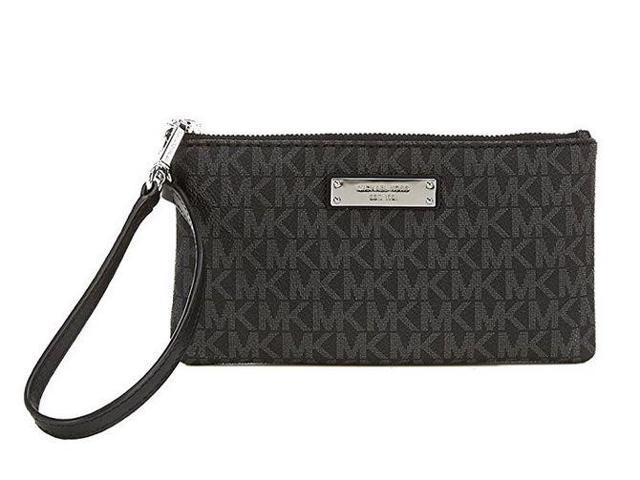 ee6e0daf2401 MICHAEL Michael Kors Signature Jet Set Item Medium Wristlet, Color 001  Black w/Silver