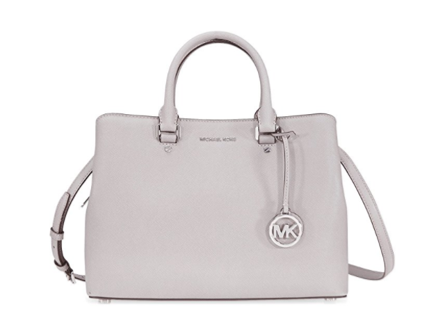 f3d1b842e09f Michael Kors Savannah Medium Leather Satchel - Pearl Grey ...