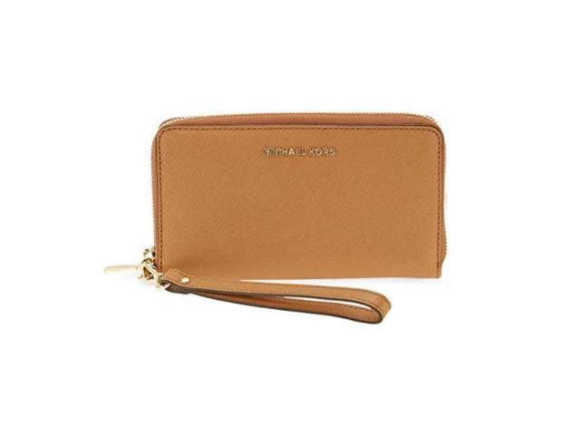 7da309fd69d1 Michael Kors Women's Jet Set Travel Leather Continental Wallet Wristlet -  Acorn 32H4GTVE9L-532