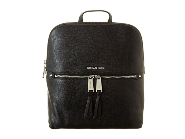 dfee0d2ecbf3e MICHAEL Michael Kors Rhea Zip Medium Slim Backpack (Black Silver)  30H6SEZB2L-001