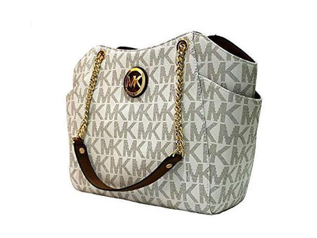 052ef070a13 MICHAEL Michael Kors Women s Jet Set Travel Large Chain Shoulder Tote  Printed Handbag (Vanilla