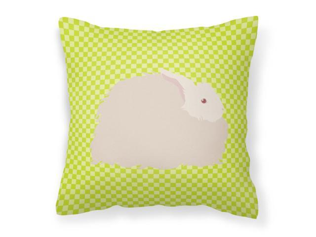 Fluffy Angora Rabbit Green Fabric Decorative Pillow