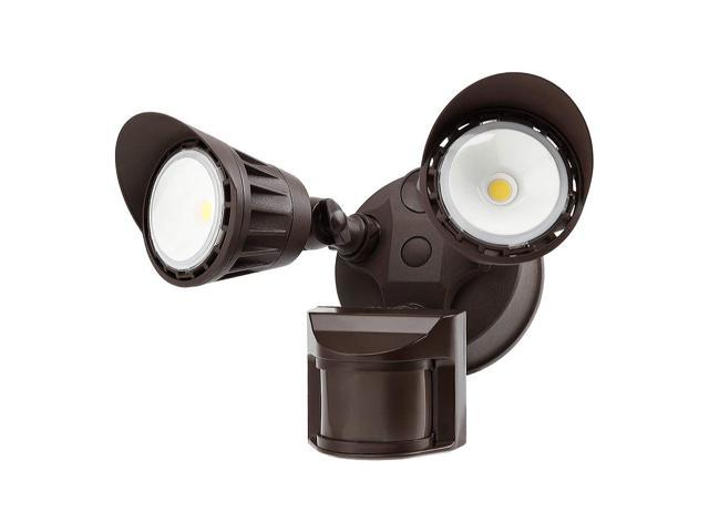 TorchStar LED Dual-Head LED Waterproof Security Light, Newly Added DIM Mode, 5000K