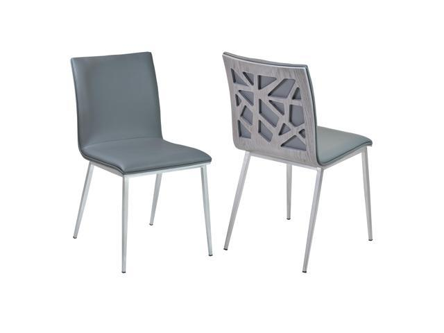 Armen Living Lccrsigrbs Crystal Dining Chair In Gray Faux