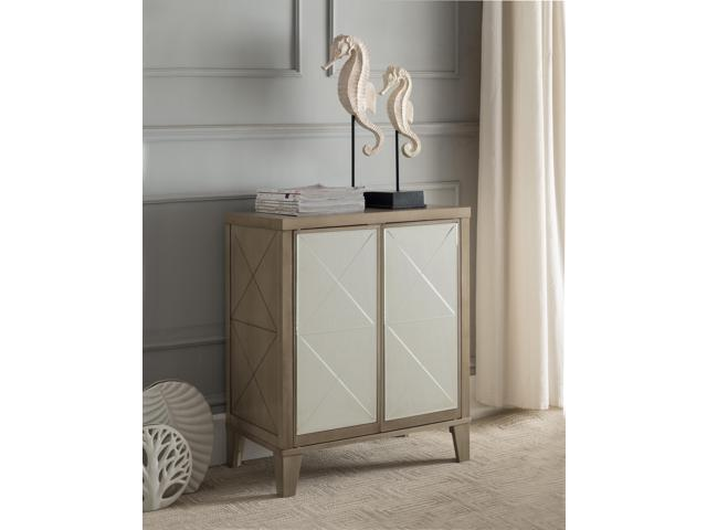 Antique White Wood Accent Entryway Sofa Display Table With Mirrored Storage Cabinet Doors