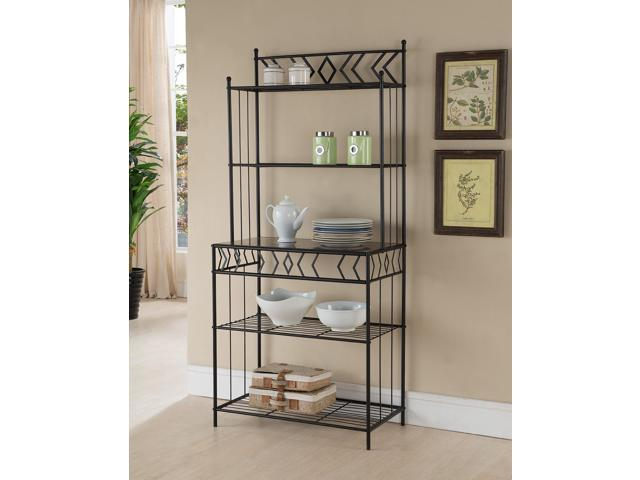 Black Metal 5 Tier Kitchen Bakers Rack Stand With Shelves & Storage -  Newegg.com