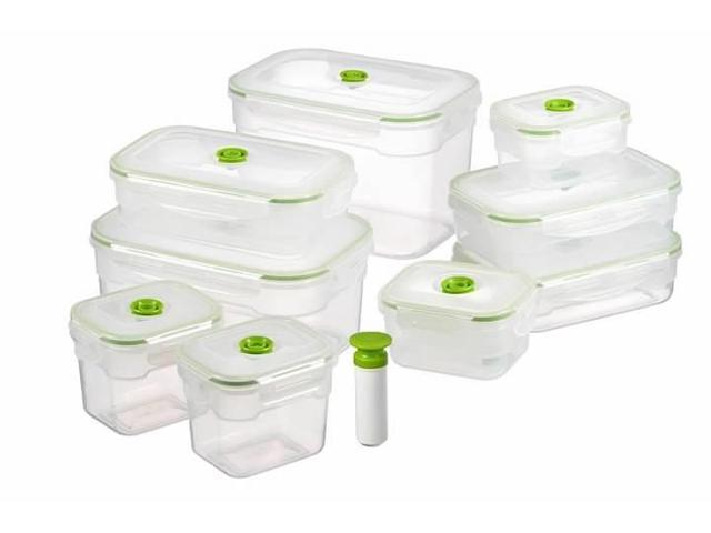 19 Pc Vacuum Food Storage Containers, Rectangular