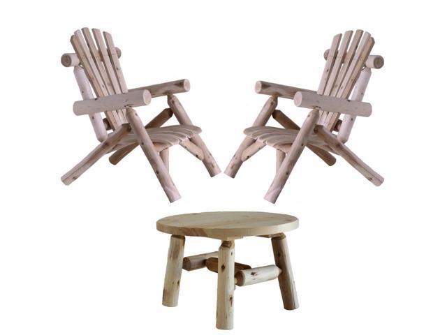 Swell Lakeland Mills Cedar Log Patio Lounge Chair Set Of 2 With Round Table Newegg Com Spiritservingveterans Wood Chair Design Ideas Spiritservingveteransorg