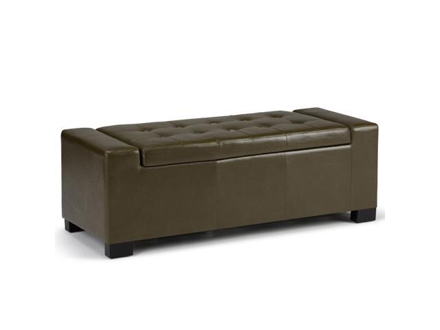 Laredo Faux Leather Storage Ottoman In Deep Olive Green