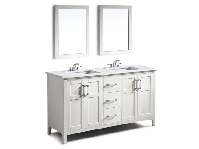 Winston 60 inch Bath Vanity in Soft White with Bombay White Quartz Marble  Top - Newegg.com