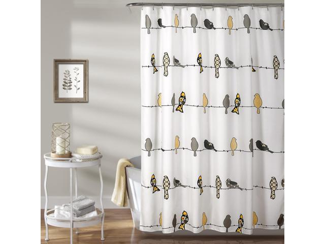Rowley Birds Shower Curtain Yellow/Gray 72X72