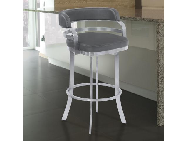 Amazing Armen Living Prinz 30 Bar Height Metal Swivel Barstool In Gray Faux Leather With Brushed Stainless Steel Finish Theyellowbook Wood Chair Design Ideas Theyellowbookinfo