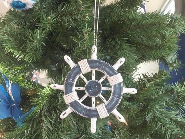 Rustic Dark Blue And White Decorative Ship Wheel Christmas