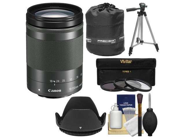 ea871bceaca49 Canon EF-M 18-150mm f 3.5-6.3 IS STM Zoom Lens (Graphite) with Pouch +  Tripod + 3 UV CPL ND8 Filters + Kit