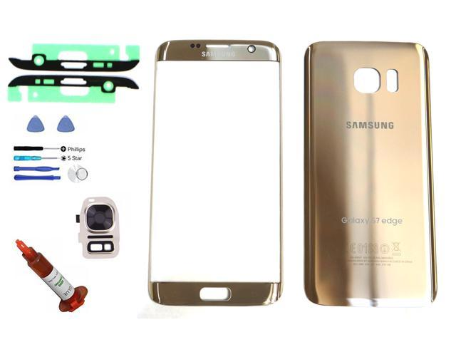 44070777b8d OEM Samsung Galaxy S7 Edge Gold Front Outer Glass Lens Screen Back Glass  Battery Door Camera Flash Lens Cover Adhesive UV LOCA Glue Full LCD  Digitizer ...