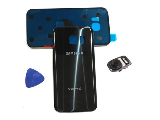Samsung Galaxy S7 Oem Black Onyx Rear Back Glass Lens Battery Door Housing Flash Cover