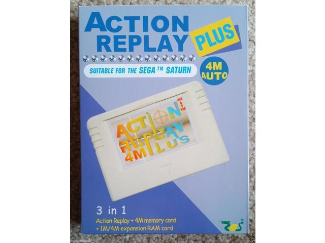 Sega Saturn Action Replay Plus 3 in 1 Memory Card and Cheat Codes Auto 1 or