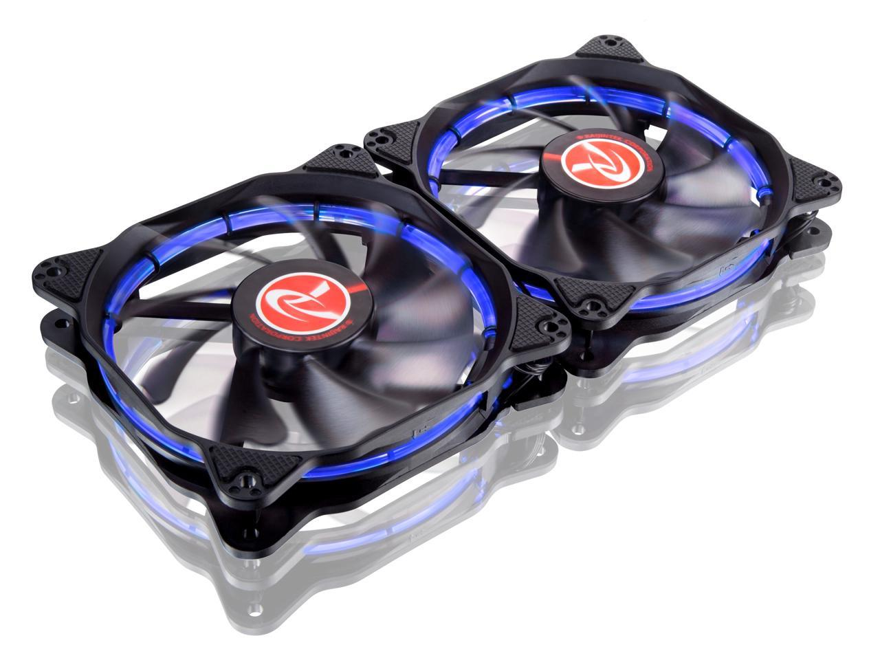 RAIJINTEK AURAS 12 BLUE - 2pcs, A 12025 O-type LED PWM Fan & Anti-Vibration Rubber at 4 Corner, Brings Visible Color and Brightness Uniformity From All Directions and Adds Spot Light to Cases & Cooler