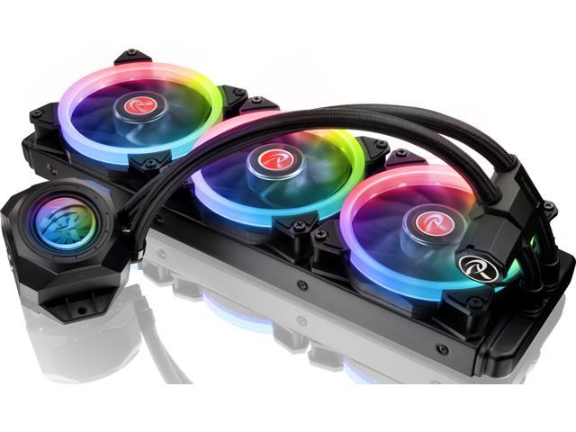 RAIJINTEK ORCUS 360 RBW, an AIO water cooling with 360mm radiator, 3pcs 12025 ARGB LED PWM fans, Addressable LED tank, 8port Control hub and Remote controller, compatible with most INTEL & AMD sockets