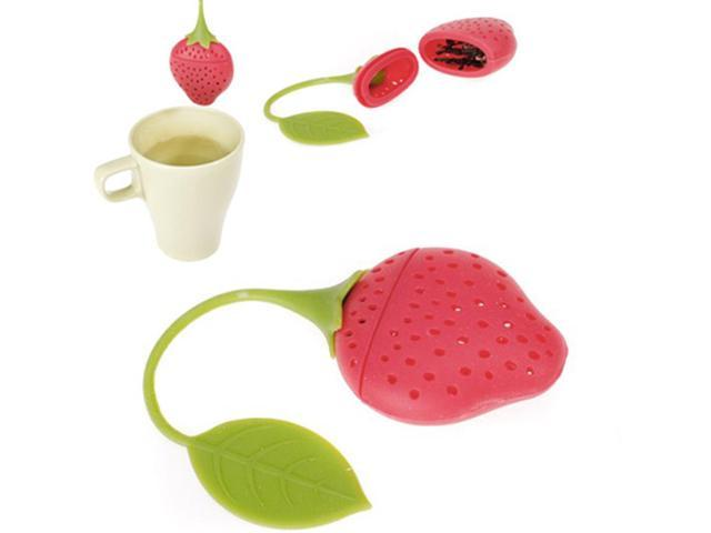 Strawberry Design Silicone Tea Infuser Strainer Red And Green Suitable For Use In Teapot