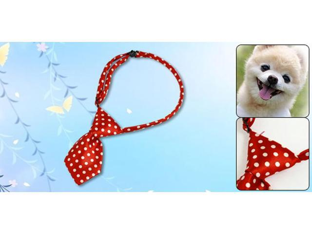 b47439cfbfff Red Dog Cat Pet Collar Bow Ties Neckties Accessory White Dots Decor
