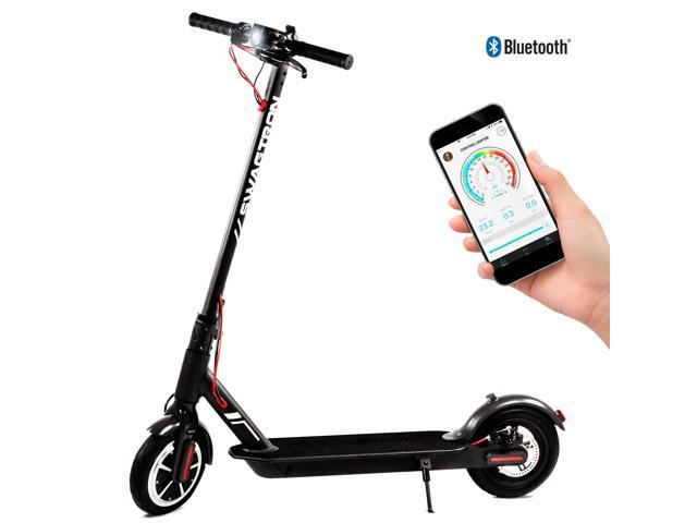 SWAGTRON Swagger Elite Portable and Foldable Electric Scooter with  Air-Filled Tires, Top Speed at 18 MPH, iOS and Android App for Cruise  Control,