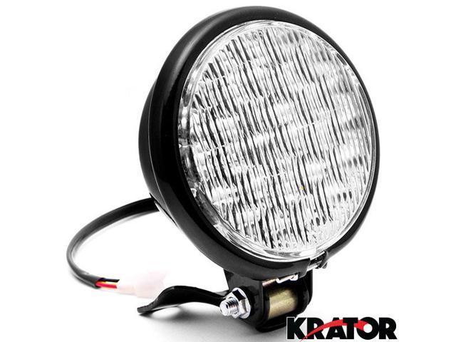 Krator 5 Black Led Headlight With Light Mounting Bracket For Honda