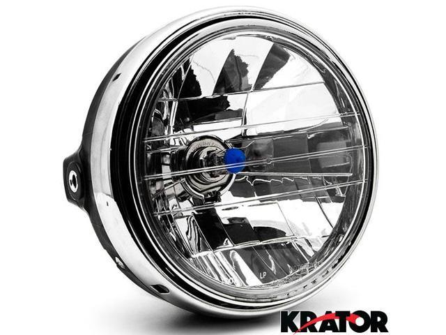 Krator 775 Chrome Headlight H4 Bulb Round Lamp For Kawasaki