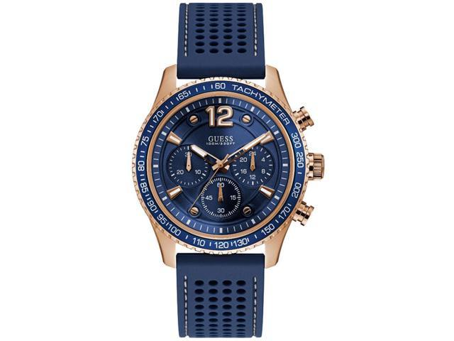 907418ae0 GUESS Men's Fleet 44mm Blue Rubber Band Steel Case Quartz Analog Watch  W0971G3