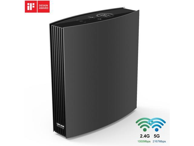 Wavlink AC3200 Dual-Band Gigabit Gaming WiFi Router With MU-MIMO, Supports Guest WiFi & Parental Control, 4 Gigabit Ports, USB3.0 Port, 8x5dBi Internal Antennas, LCD Screen, iF Design Award Winner