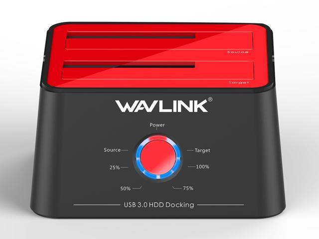 Wavlink Updated Hard drive Docking Station - USB 3 0 to SATA Dual Bay HDD  Docking Station in Red For 2 5 & 3 5 In  HDD/SSD SATA I/II/III- Support