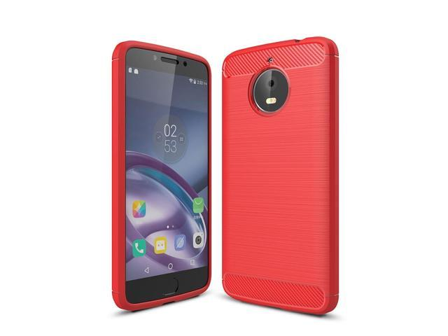 For Motorola Moto E4 Plus (EU Version) Brushed Texture Carbon Fiber  Shockproof TPU Rugged Armor Protective Case (Red) - Newegg com