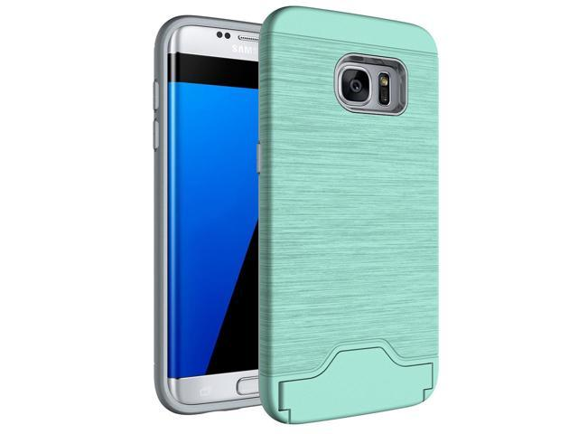 For Samsung Galaxy S7 Edge / G935 Brushed Texture Separable TPU + PC  Combination Back Case with Card Slot & Holder (Green) - Newegg com