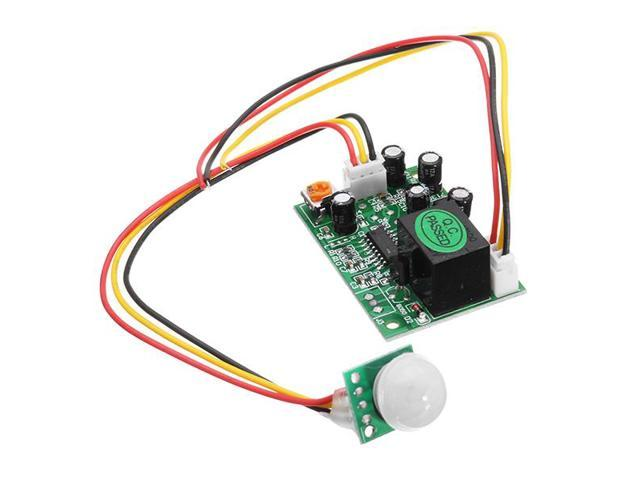 DC 12V 50uA 3-Wire Human Body Induction PIR IR Pyroelectric Infrared Sensor  Module Relay Control Output Sensing Distance 3-5m Load Capacity 100W High
