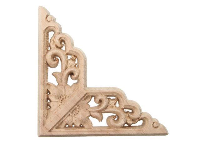 Wood Carving Applique Unpainted Onlay Door Corner Cabinet Furniture Wood  Carving Decor 8x8cm