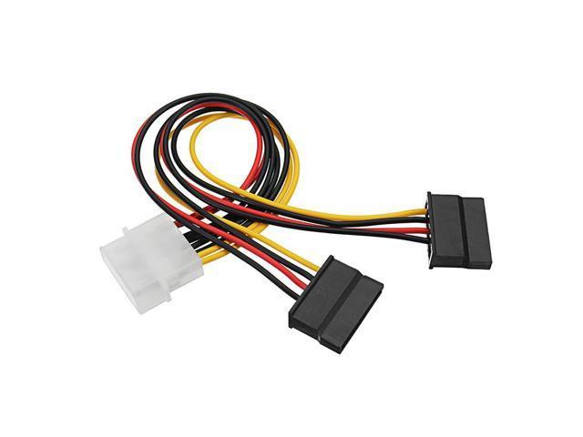 4 Pin Molex IDE Male To 2 Port Female SATA Power Cable